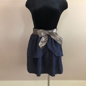 Eight Sixty navy silk tiered bow skirt